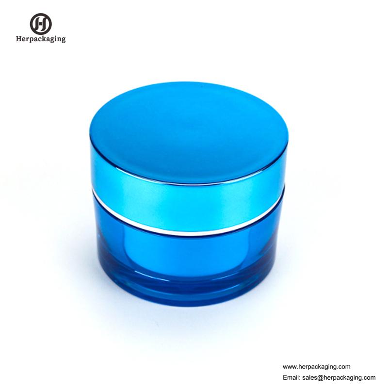 Recipiente cosmético azul redondo redondo vazio de Skincare do recipiente da parede do dobro do frasco HXL212