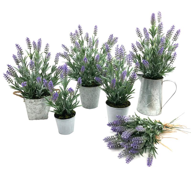 Decorações de mesa de arranjos de flores de lavanda de decoração de casa de planta de pote de metal artificial