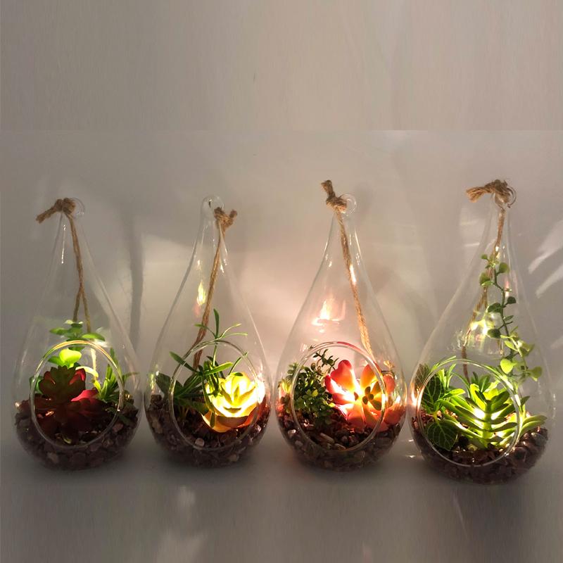 Plantas suculentos artificiais decorativas do Tabletop de vidro do diodo emissor de luz com o vaso da exposição do globo