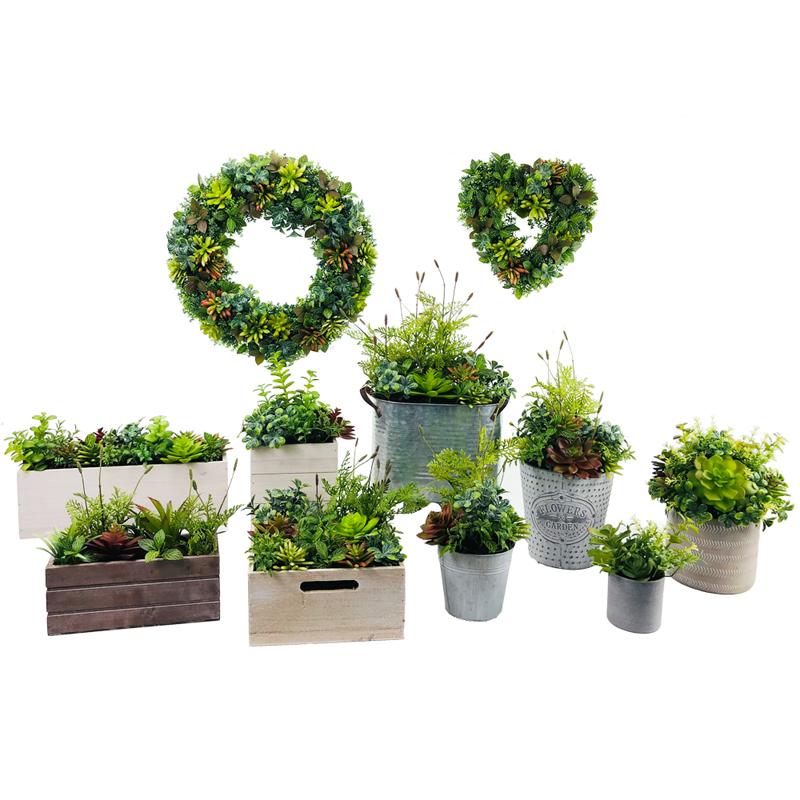 Plantas suculentas artificiais modernas com o vaso decorativo da exposição do globo do tabletop do potenciômetro