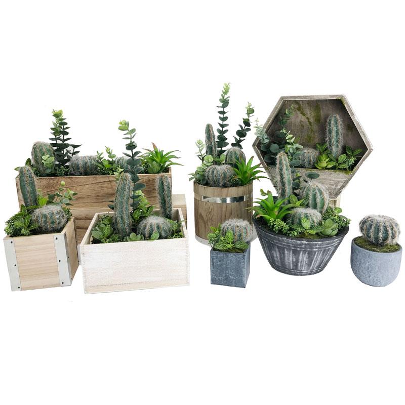 Conjunto de cacto artificial para casa ou escritório na decoração suculenta de pote decorativo