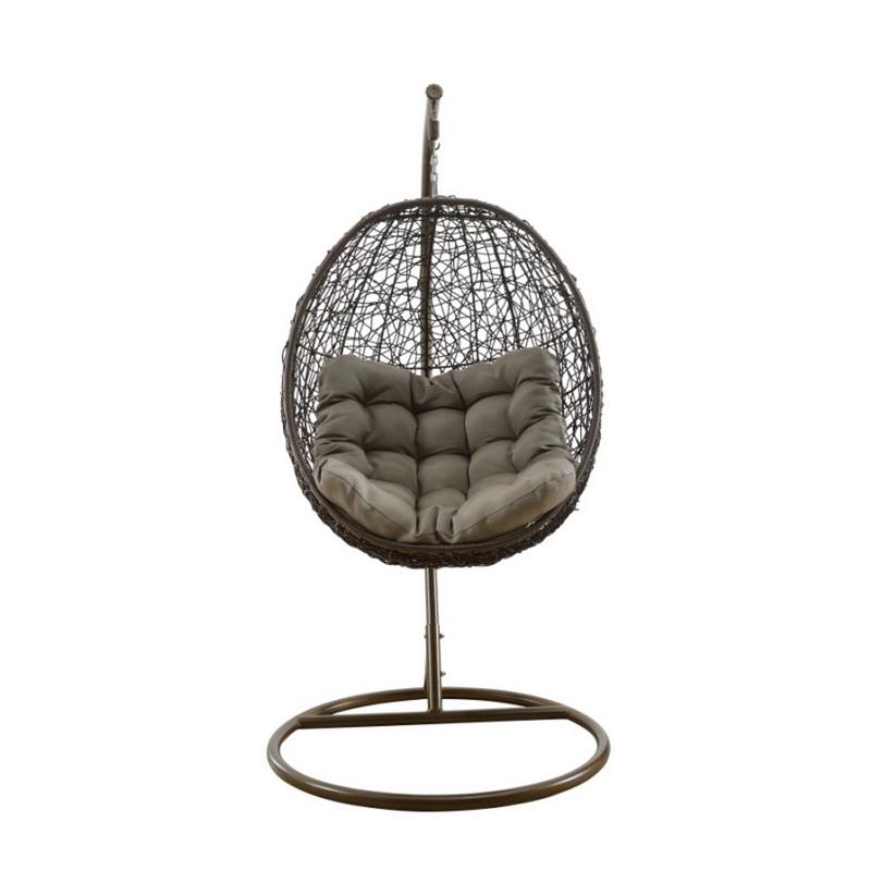 Cadeira redonda do balanço da cesta redonda do Rattan branco ao ar livre do jardim