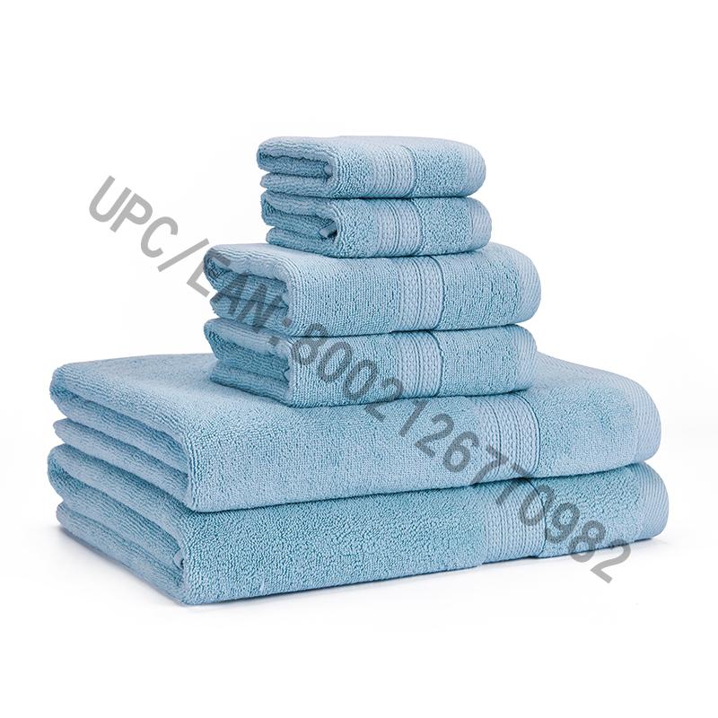 Conjunto de Toalhas de Banho, Toalhas de Algodão Penteadas Conjunto de 6,2 Toalhetes, 2 Toalhas de Mão, 2 Toalhas de Banho, Toalhas Toalhas de Piscina Domésticas Absorvedor Durável Toalhas Confortáveis Extra Grosso Macio (Azul Claro, 6)