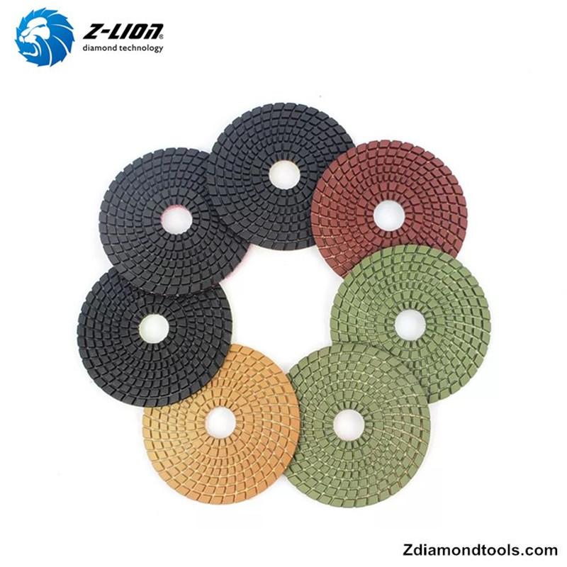 Almofadas de polimento flexíveis de diamante molhado de resina Z-LION ZL-123C para projetos de pedra