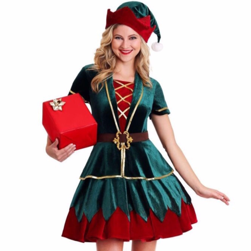 4pcs Deluxe Elf Christmas Party Holiday Velvet Mini Dress Costume with Hat
