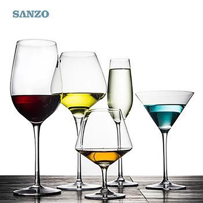 SANZO Haste Preta Lismore Balão De Vidro De Vinho Artesanal De Cristal Sem Chumbo Gravado Óculos Óculos Grossos