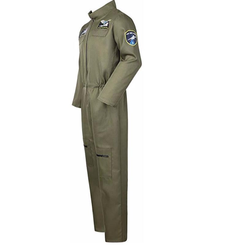 Piloto de caça da Força Aérea dos homens Macacão de Vôo Trajes para Adultos com Patches e Bolsos Bordados