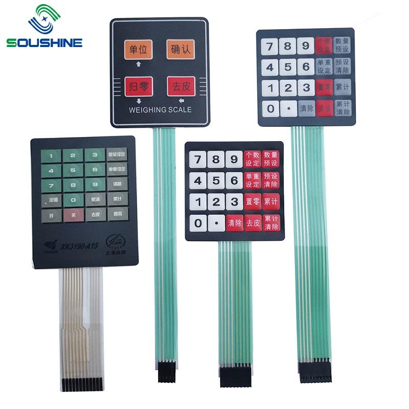 Interruptor de membrana personalizado / teclado de balanças