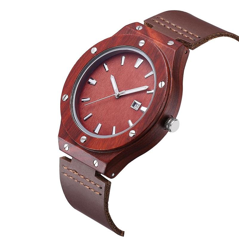 Relógio de madeira de pulso e melhores casais de couro dos namorados relógio de pulso