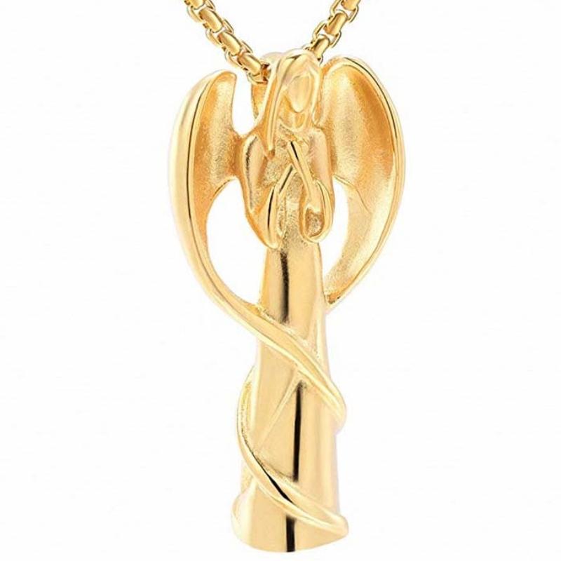 Pingente de cremação pingente de anjo colar de pingente de urna pingente de prata esterlina 925
