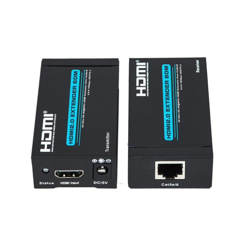 Extensor V2.0 HDMI 60m Sobre suporte a cabo único cat5e / 6 Ultra HD 4Kx2K a 60Hz HDCP2.2