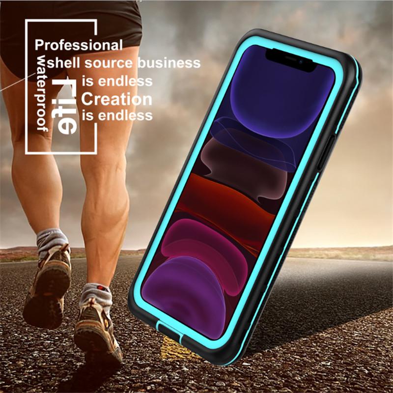 Novo pc + tpe + pet à prova d 'água à prova de poeira à prova de neve Telefone Acessórios Case para iphone 11 (azul) tampa traseira transparente