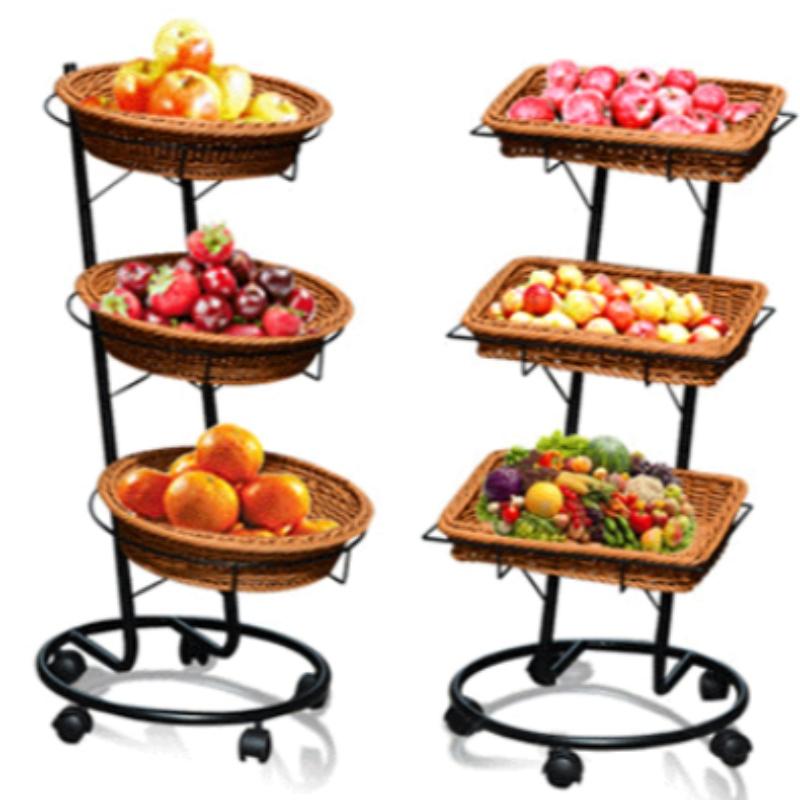 3 camadas Supermercado Display Basket com rodas