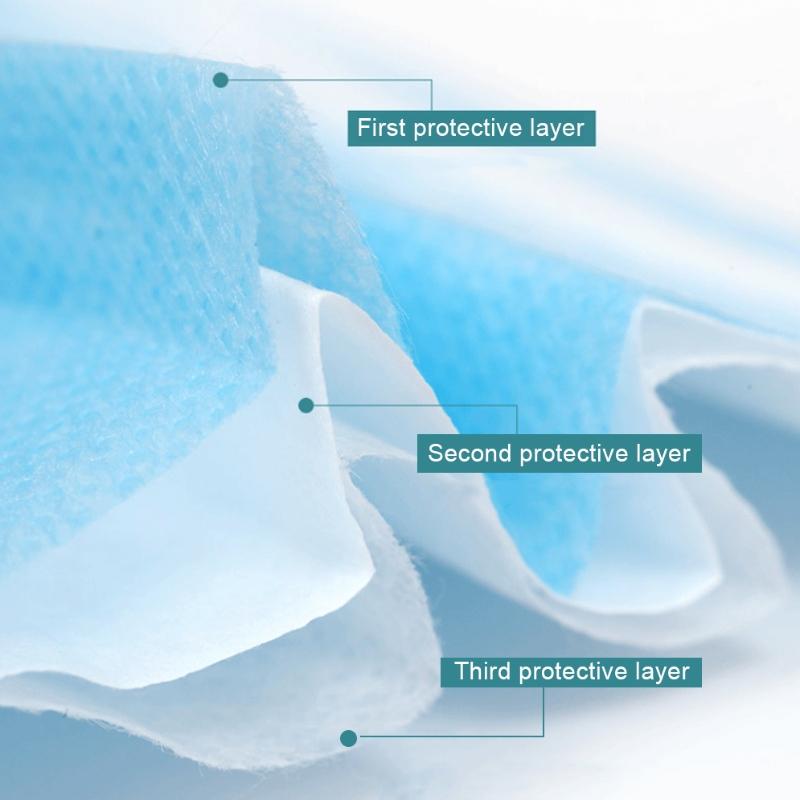 Máscara protetora diária descartável para adultos de 3 camadas