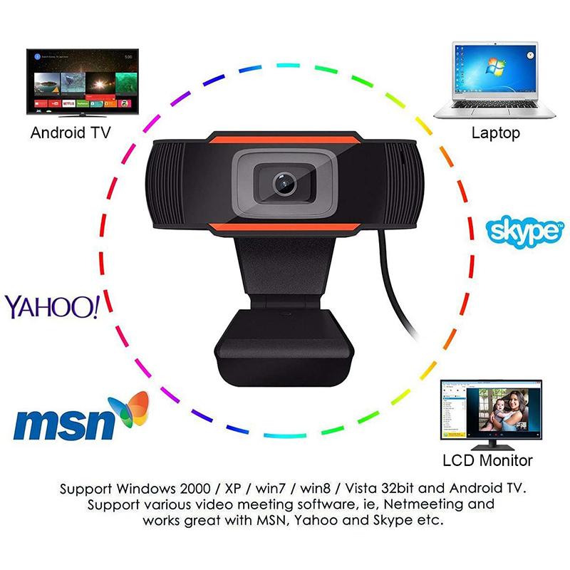 HD 1080P Computador Webcam PC Desktop Rotatable USB2.0Câmera com Microfone Digital